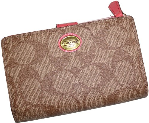 Coach   Coach Womens Peyton Signature Medium Wallet Khaki/Coral