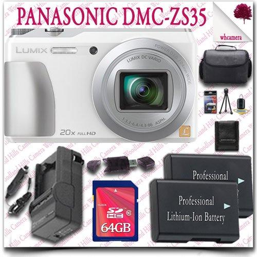 Panasonic Lumix Dmc-Zs35 Digital Camera (White) + 64Gb Sdhc Class 10 Card + Slr Gadget Bag 11Pc Panasonic Saver Bundle