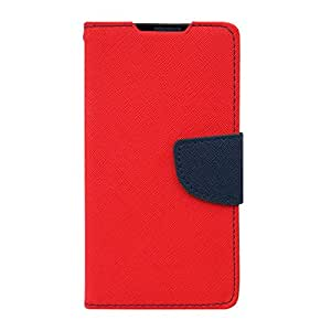 Acm Wallet Diary Flip Case For Samsung Note 2 Mobile Multi-Color Cover-Red With Dark Blue Inside