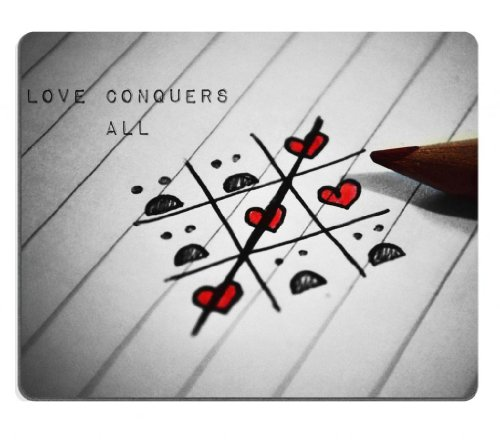 Love Conquers All Tic Tac Toe Game Mouse Pads Customized Made To Order Support Ready 9 7/8 Inch (250Mm) X 7 7/8 Inch (200Mm) X 1/16 Inch (2Mm) High Quality Eco Friendly Cloth With Neoprene Rubber Liil Mouse Pad Desktop Mousepad Laptop Mousepads Comfortabl front-725821