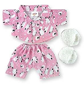 Pink Sheep PJ's & Fluffy Slippers Teddy Bear Clothes fit Build a Bear factory Teddies