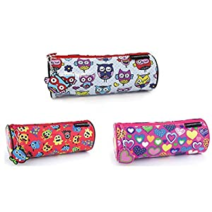 Round Pencil Case Assorted Designs Monster & Pen