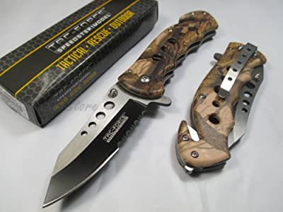 Tac Force Assisted Opening Rescue Tactical Pocket Folding Stainless Steel Blade Knife Outdoor Survival Camping Hunting - Brown Camo by MC