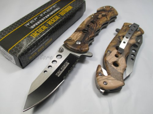 Tac Force Assisted Opening Rescue Tactical Pocket Folding Stainless Steel Blade Knife Outdoor Survival Camping Hunting - Brown Camo