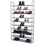 Songmics 10 Tiers Shoe Rack 50 Pairs Non-woven Fabric Shoe Storage Organizer Cabinet Tower ULSR10G