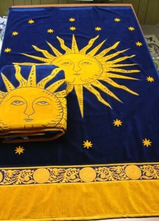 Egyptian Bedding Egyptian Cotton Jacquard Oversized Beach Towel Set, Navy Sun, Set of 2