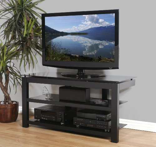 Plateau Sl-3V 50 B Wood And Glass Tv Stand, 50-Inch, Black Satin Paint Finish