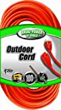 Coleman Cable 02309 16/3 Vinyl Outdoor Extension Cord, 3-Prong Grounded, Orange, 100-Feet