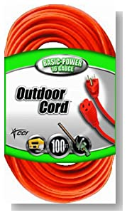 Coleman Cable 02309 16/3 Vinyl Outdoor Extension Cord, Orange, 100-Feet