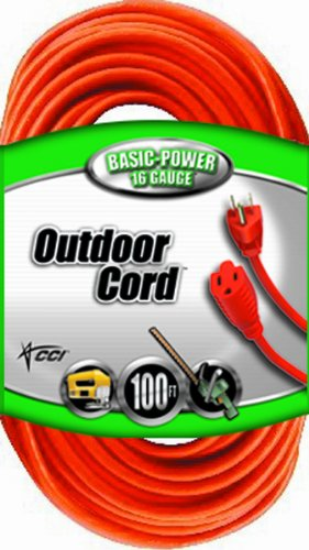 Coleman Cable 02309 16/3 Vinyl Outdoor Extension Cord, Orange, 100-Feet - Coleman Cable - CO-02309 - ISBN:B001JTS6UC