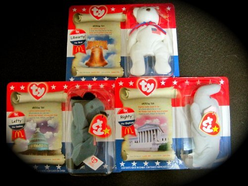 Ty Beanie Babies The American Trio Lefty, Righty and Libearty (McDonalds Teenie Beanie Babies)