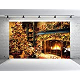 7x5ft Christmas Fireplace Poly Fabric Photography Backdrop Customized Photo Background Studio Prop SDJ-010