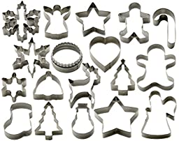 StarPack Christmas Cookie Cutters Set (18 Piece) - Favorite Holiday Shapes including Gingerbread Man, Star and Snowflake - Bonus 101 Cooking Tips