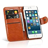 Mospro iPhone 6s/6 ケース 手帳型 カードポケット スタンド機能 PUレザー ブラウン