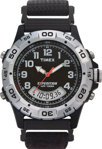 Timex Expedition Men's Quartz Watch with Black Dial Analogue - Digital Display and Black Fabric and Canvas Strap T45171
