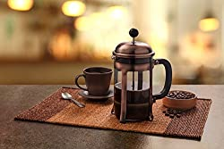 French Coffee Press in Copper Stainless Steel Heat Resistant Glass FDA Approved Mandarin-Gear / Rust Free 28oz/800ml 4 Cups/ 2 Mugs made by Mandarin-Gear