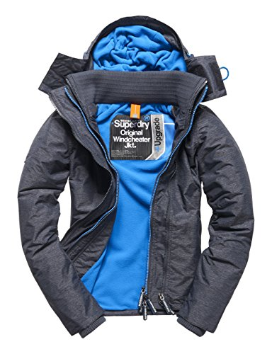 SUPERDRY Pop Zip Hooded Arctic Windchea, Giacca Donna, Navy Marl/Denby Bluetly, M