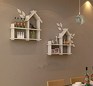 dic hut shape wall mounted wall shelf white set of 2 - Simple Shapes Wall Design 2