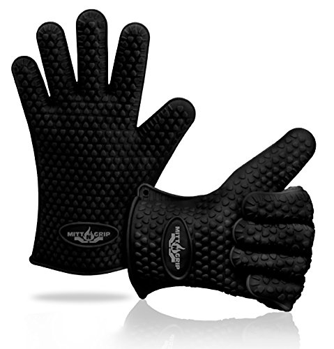 Extra Thick Silicone Oven Gloves. Extreme Heat Resistance for BBQ Grilling, Baking, Smoking, Cooking, Crock Pot & Toaster Oven. Set of 2 Mitt-N-Grip Barbecue Gloves. One Size Fits Most - Sleek Black (Kitchenaid Crockpot compare prices)