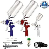 TCP Global' Brand HVLP Spray Gun Set - 3 Sprayguns With Cups, Air Regulator & Maintenance Kit For All Auto Paint...
