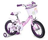 Cyfie イギリスガール 子供用自転車  女の子向け 幼児自転車 補助輪付  キッズ サイクル  おもちゃ (ピンク, 18インチ)
