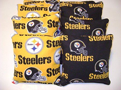 Pittsburgh Steelers Cornhole Bean Bags Set of 8 Top Quality Toss Game at Steeler Mania