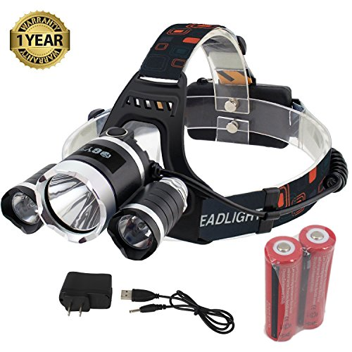 GYY Ultra Bright Headlamp Headlight Flashlight LED Light with Rechargeable Batteries and Charger (3m Led Light Module compare prices)