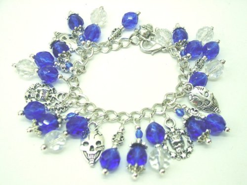 Chic Wrists We Love Skulls Bold Charm Bracelet, Blue Crystal, Metal Skull Charms with FREE Earrings