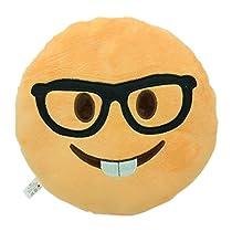 NERD FACE Emoji Pillow Smiley Emoticon Yellow Round Cushion Stuffed Plush Soft Toy(Poop,Pinkpoop,Monkey,Money Mouth,Cat,Heart Eye,Laugh to Tear,Smirking,Throwing Kiss,Tongue,Devil,Nerd)