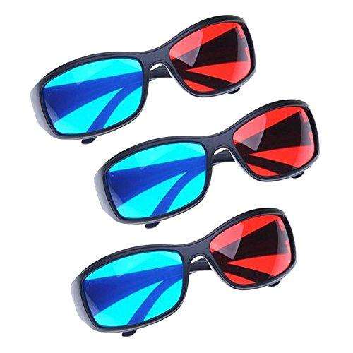 fb5dc165af SODIAL(R) Gafas 3D Anaglifo para 3D DVD (3 Pares, Plastico)