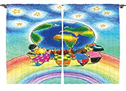 Ambesonne Girls Boys Kids Baby Room Decor Collection, World Standing on Rainbow Holding Earth Colored Pencil Drawing Effect, Window Treatments for Kids Bedroom Curtain 2 Panels Set, 108X63 Inches