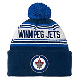 NHL Winnipeg Jets Youth 8-20 Cuffed Knit with Pom Hat, One Size, Navy