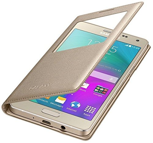 competitive price 04977 a752e Samsung J7 Prime Window Flip Cover(GOLD)+FREE Tempered Flexible Curved  Glass By Sun Tigers