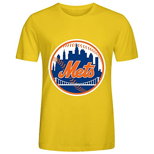 MLB New York Mets Team Logo Crew Neck Men Funny T-shirts Yellow (Infiniti Bling Emblem compare prices)