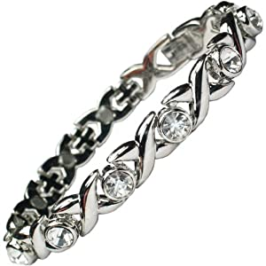 MPS JAMIAN S Ladies Magnetic Bracelet with White Crystals and Powerful Rare-Earth Magnets with Free Elegant Gift Wallet - SIZE L