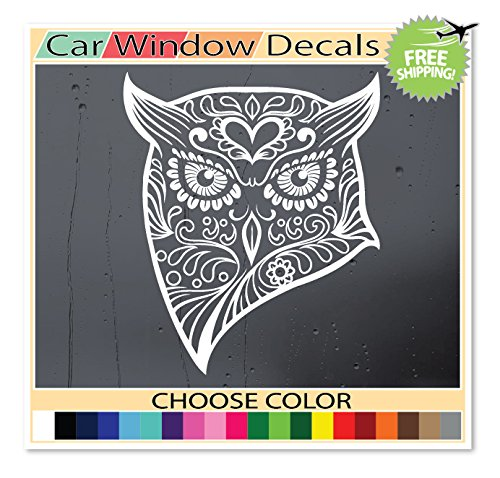 (Version 106) OSMdecals - White Mexican Sugar Skull Owl Sticker Decal - Day of the Dead Die-Cut Vinyl Wall Home Decor Car Window Bumper Decal Sticker - Choose Color! (Owl Auto Decal compare prices)