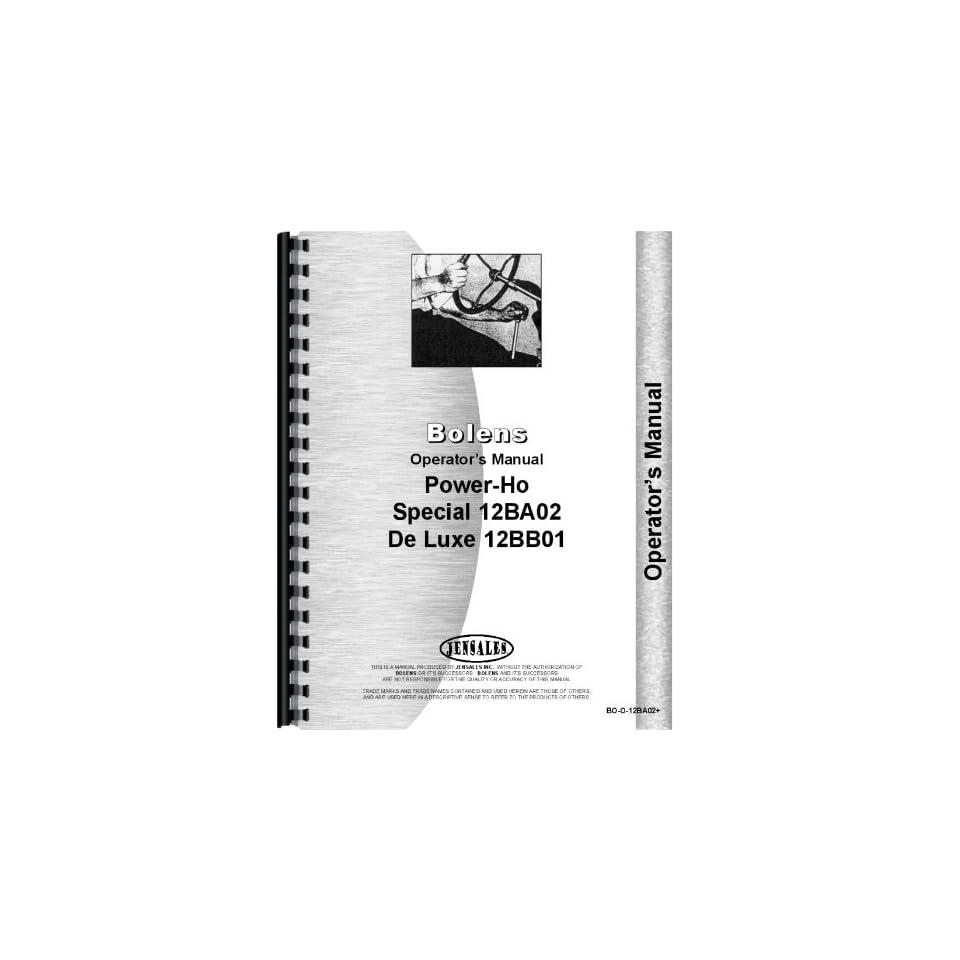 Bolens 12BB01 Power Ho Walk Behind Tractor Operators Manual