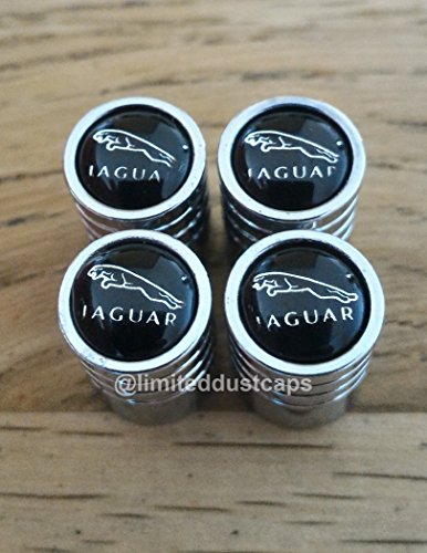 Radventil-Staubkappen-Jaguar-Modelle-XF-XE-XJ-XK-XK8-X300-XJ8-XJ40-Growler-Chrom-Schwarz