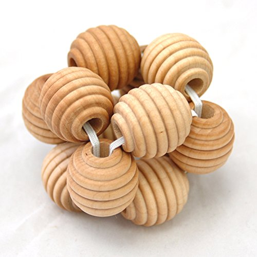 Intuitoys Montessori Inspired All Natural Wooden Baby Beehive Bead Ball Rattle (Handmade in Usa)