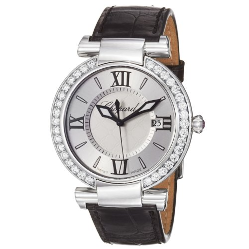 Chopard Women's Imperiale Silver Dial Black Strap Diamond Watch 388532-3003