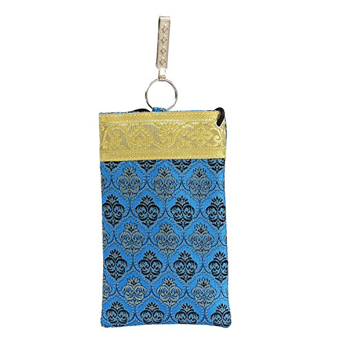 Bagaholics Ethnic Silk Saree Clutch Waist Clip Mobile Pouch Ladies Purse Gift For Women ( Blue)