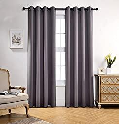 Miuco Room Darkening Soild Grommet Window Blackout Curtains Two Panels for Bedroom 52x95 Inch Grey, Bonus 2 Tie Backs Included