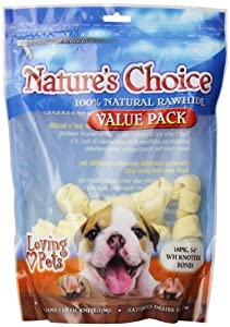 Loving Pets Nature's Choice 100-Percent Natural Rawhide White Knotted Bones Value Pack Dog Treat, 3-4-Inches, 18/Pack