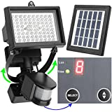 MicroSolar - 80 LED - Waterproof - Lithium Battery - Digitally Adjustable TIME & LUX with Buttons --- Adjustable Light Fixture from Left to Right, Up and Down // Outdoor Solar Motion Sensor Light