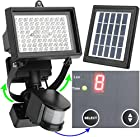 80 LED - Waterproof - Lithium Battery - Digitally Adjustable TIME & LUX with Buttons --- Adjustable Light Fixture from Left to Right, Up and Down // MicroSolar Outdoor Solar Motion Sensor Light