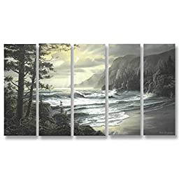 Neron Art - Handpainted Landscape Oil Painting on Gallery Wrapped Canvas Group of 5 pieces - Wakefield 40X24 inch (102X61 cm)