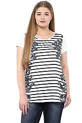 Alto Moda by Pantaloons Women's Round Neck T-Shirt (205000005652498, White, XXXX-Large)