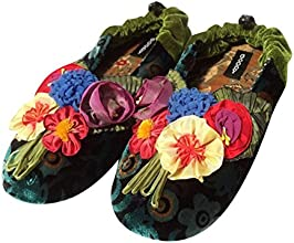 Goody Goody Women39s Flowers Silk  Suede Slippers
