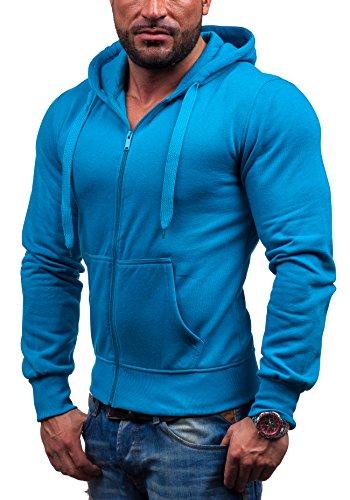 STEGOL AK50 Sky blue XXL [1A1] Classical Men's Hoodie Jumper Casual Full Zip Blouse With Hood