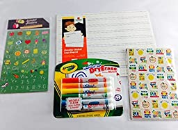 Double Sided Ruled Line Dry Erase Board 9 X 12 with Stickers and Crayola Markers